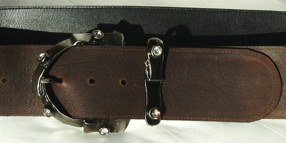 Wide Brown Leather Belt with Stunning Diamante Buckle