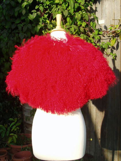 Back of the Red Mongolian Sheepskin Shrug