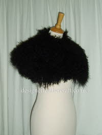 Black Mongolian Sheepskin Shrug pic 1