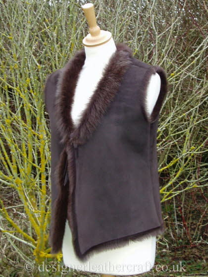 Brown Toscana Shearling Vest Style Gilet