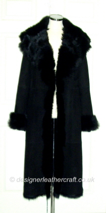 Calf Length Coat in Black on Black Toscana Shearling